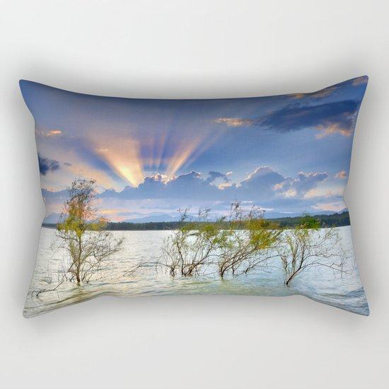"""""""Sunrays at the lake at sunset"""" Rectangular Pillow"""