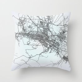 Skopje, North Macedonia, White, City, Map Throw Pillow