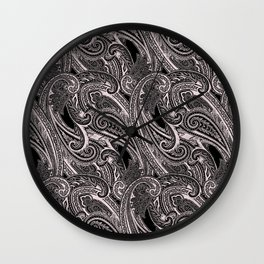 paisley wave in black and white Wall Clock