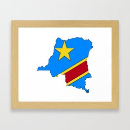 Democratic Republic of the Congo Map with Congolese Flag Framed Art Print
