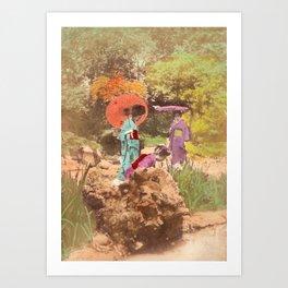 Geisha in the garden Art Print