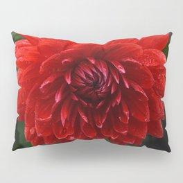 Fresh Rain Drops - Red Dahlia Pillow Sham