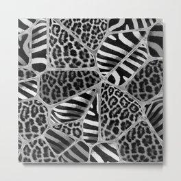 Animal Print - Leopard and Zebra - silver Metal Print