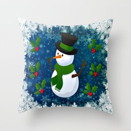 Snowman - Happy Holidays Throw Pillow
