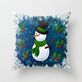 Snowman - Happy Holidays Throw Pillow