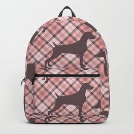 PINK TARTAN WEIMARANER Backpack