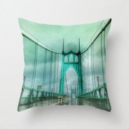 St John's Bridge Portland Oregon Throw Pillow
