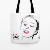 miley cyrus Tote Bags featuring Miley Cyrus by ☿ cactei ☿
