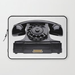 Old black telephone, middle of 20th century, aged and scuffed Laptop Sleeve