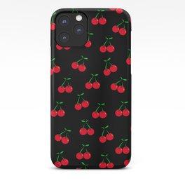 Cherries 2 (on black) iPhone Case