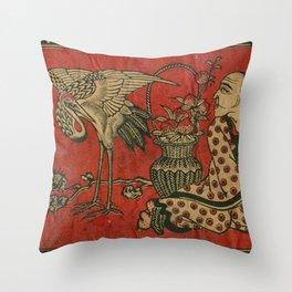 Japanese Man with Stork Throw Pillow