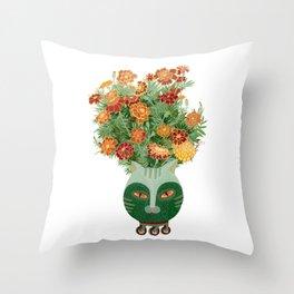 Marigolds in cat face vase  Throw Pillow