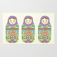 russian Area & Throw Rugs featuring Russian Doll by haleyivers