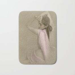 """Mattaharish"" - The Playful Pinup - Vintage Weathered Pinup Girl by Maxwell H. Johnson Bath Mat"