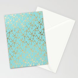 Modern teal faux gold nautical elegant anchor Stationery Cards