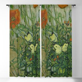 "Vincent Van Gogh ""Butterflies and Poppies"" Blackout Curtain"
