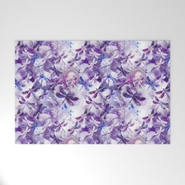 Dragonfly Lullaby in Pantone Ultraviolet Purple Welcome Mat