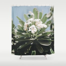 Vibrant White Flower Bunch Leafy Green Planet Clear Blue Sunny Sky Shower Curtain