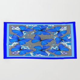 Decorative Blue Shades Butterfly Grey Pattern Art Beach Towel