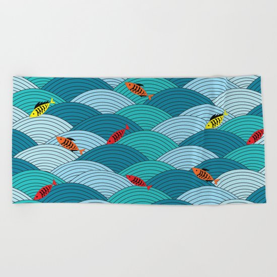 wave and fish Beach Towel