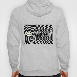 optical visual illusion thinking cloud of black and white chess board tunnel op art  Hoody
