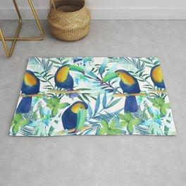 Tropical Toucan Watercolor Pattern Rug