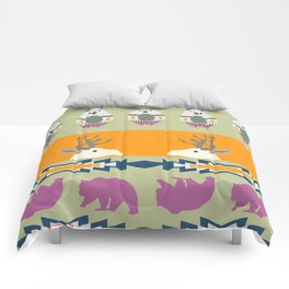 Colorful Christmas pattern with deer and bears Comforters