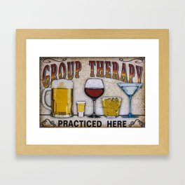 Group therapy practiced here Framed Art Print