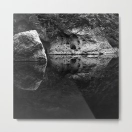 Boulder Reflection on Water Metal Print