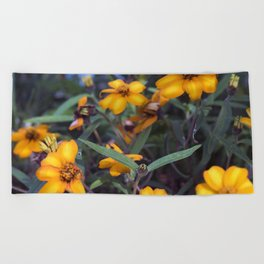Small Orange Flowers Beach Towel