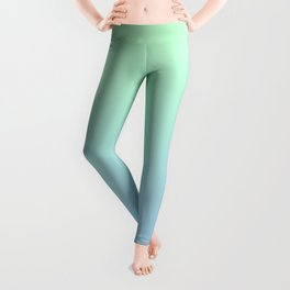 Mint Green to Baby Blue Linear Gradient Leggings