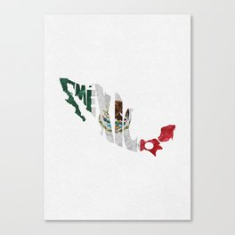 Mexico Typographic Flag Map Art Canvas Print