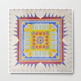 Mandala sobre fondo plata Metal Print