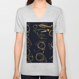 Maritime pattern- Gold fishing gear on darkblue background Unisex V-Neck