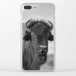 Buffalo Stance - Bison Portrait in Black and White Clear iPhone Case