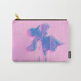 Light Blue and Blush Glitched Iris Carry-All Pouch