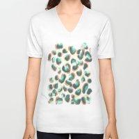 leopard V-neck T-shirts featuring Leopard by Jacqueline Maldonado