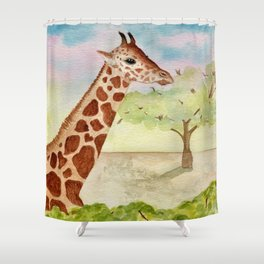 Watercolor Giraffe Illustration Shower Curtain