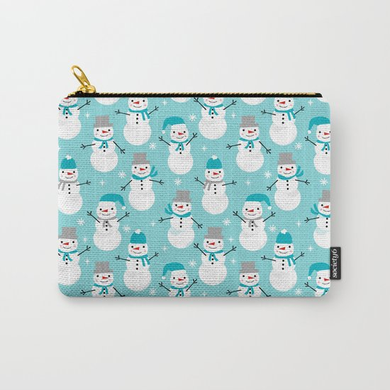 Snowman winter holiday pattern seasonal decor furnishing gifts for kids Carry-All Pouch