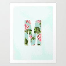 Floral Letter M - Letter Collection Art Print