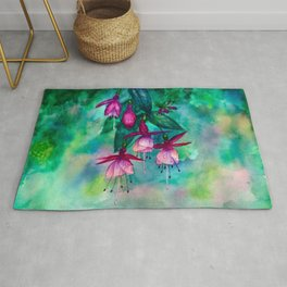 Watercolor fuschia flowers whimsical painting Rug