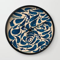 whales Wall Clocks featuring Whales by Amanda Lima