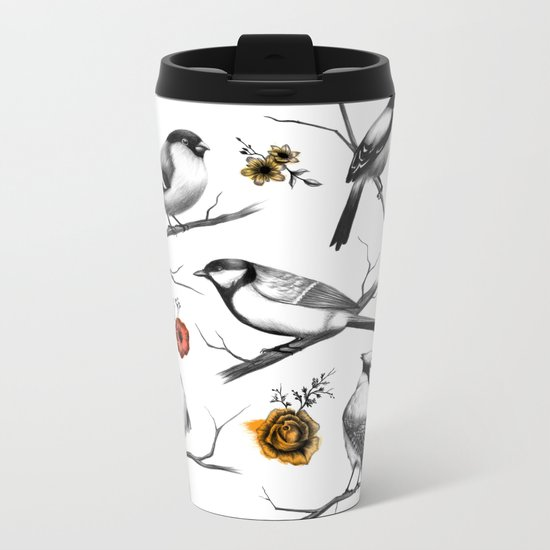 BIRDS & FLOWERS Metal Travel Mug