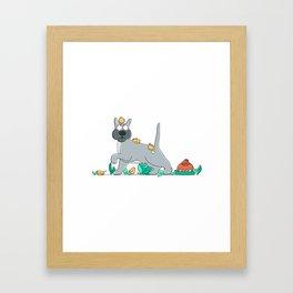 dog and chicks Framed Art Print