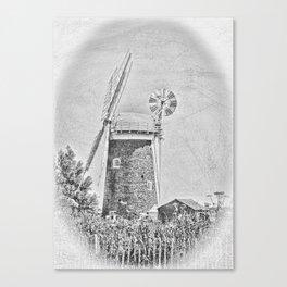 Horsey windpump black and white Canvas Print