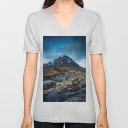 Mountain ice clouds blue Unisex V-Neck