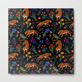Leopards and wildflowers Metal Print