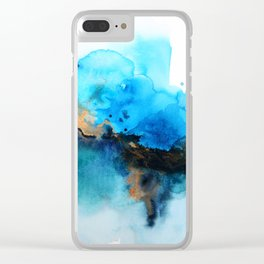 Blue gold flow abstract Clear iPhone Case