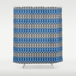 Moroccan Ikat Damask, Shades of Blue and Gray / Grey Shower Curtain