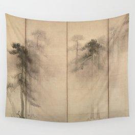 Pine Trees Six-Fold Japanese Screen - Hasegawa Tohaku Wall Tapestry